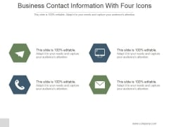 Business Contact Information With Four Icons Ppt PowerPoint Presentation Example 2015