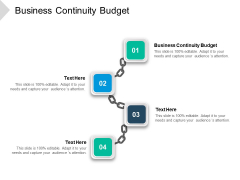 Business Continuity Budget Ppt PowerPoint Presentation Icon Layout Ideas Cpb Pdf