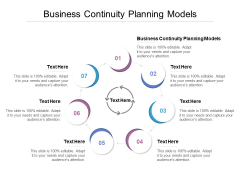 Business Continuity Planning Models Ppt PowerPoint Presentation Outline Professional Cpb