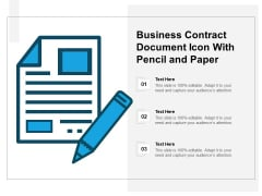Business Contract Document Icon With Pencil And Paper Ppt PowerPoint Presentation Gallery Skills PDF