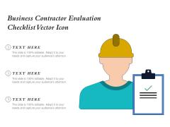 Business Contractor Evaluation Checklist Vector Icon Ppt PowerPoint Presentation Portfolio Skills PDF