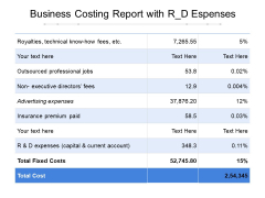 Business Costing Report With R D Espenses Ppt PowerPoint Presentation Visual Aids Deck PDF