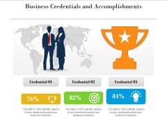 Business Credentials And Accomplishments Ppt PowerPoint Presentation Gallery Visual Aids PDF
