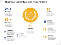 Business Credentials And Achievements Ppt PowerPoint Presentation Gallery Summary PDF