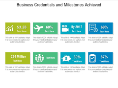Business Credentials And Milestones Achieved Ppt PowerPoint Presentation File Icon PDF