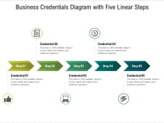 Business Credentials Diagram With Five Linear Steps Ppt PowerPoint Presentation File Clipart PDF