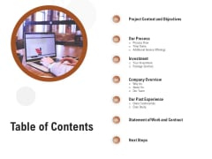 Business Customizable Table Of Contents Ideas PDF