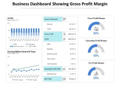 Business Dashboard Showing Gross Profit Margin Ppt PowerPoint Presentation Pictures Objects PDF