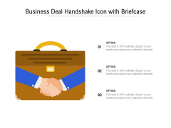 Business Deal Handshake Icon With Briefcase Ppt PowerPoint Presentation File Visual Aids PDF