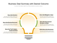 Business Deal Summary With Desired Outcome Ppt PowerPoint Presentation Gallery Example Topics PDF