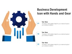 Business Development Icon With Hands And Gear Ppt PowerPoint Presentation Infographic Template Clipart Images
