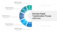 Business Digital Transformation Process With Icons Ppt PowerPoint Presentation Icon Slideshow PDF