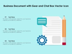 Business Document With Gear And Chat Box Vector Icon Ppt PowerPoint Presentation Gallery Background Designs PDF