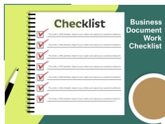 Business Document Work Checklist Ppt PowerPoint Presentation Show Designs