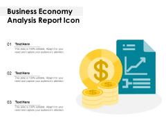 Business Economy Analysis Report Icon Ppt PowerPoint Presentation Gallery Portrait PDF