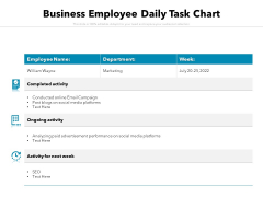 Business Employee Daily Task Chart Ppt PowerPoint Presentation Styles Master Slide PDF