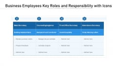 Business Employees Key Roles And Responsibility With Icons Ppt PowerPoint Presentation File Background Designs PDF