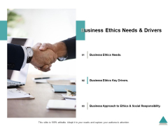 Business Ethics Needs And Drivers Ppt PowerPoint Presentation Layouts Icon