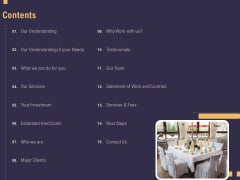 Business Event Planning Contents Ppt Infographic Template Brochure PDF