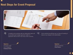 Business Event Planning Next Steps For Event Proposal Ppt File Layouts PDF