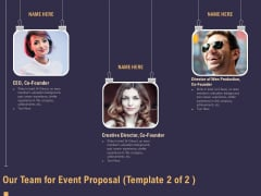 Business Event Planning Our Team For Event Proposal Creative Ppt Outline Layouts PDF