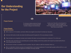 Business Event Planning Our Understanding For The Project Ppt Layouts Deck PDF
