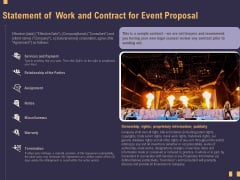Business Event Planning Statement Of Work And Contract For Event Proposal Ppt Slide PDF