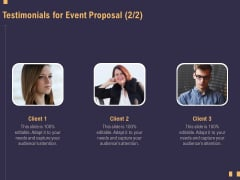 Business Event Planning Testimonials For Event Proposal Audience Ppt Professional Example File PDF