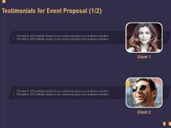 Business Event Planning Testimonials For Event Proposal Ppt Portfolio Vector PDF