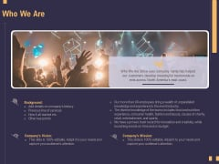 Business Event Planning Who We Are Ppt Infographic Template Images PDF