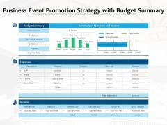 Business Event Promotion Strategy With Budget Summary Ppt PowerPoint Presentation File Outfit PDF