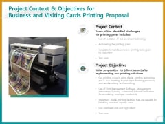 Business For ID Printing Project Context And Objectives For Business And Visiting Cards Ppt Ideas Show PDF