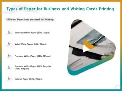 Business For ID Printing Types Of Paper For Business And Visiting Cards Printing Ppt Model Background PDF
