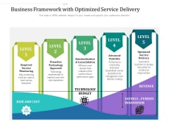Business Framework With Optimized Service Delivery Ppt PowerPoint Presentation File Background Image PDF