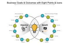 Business Goals And Outcomes With Eight Points And Icons Ppt PowerPoint Presentation Infographic Template Brochure