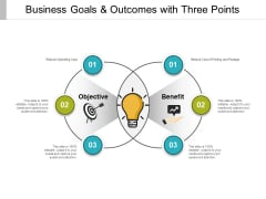 Business Goals And Outcomes With Three Points Ppt PowerPoint Presentation Ideas Summary