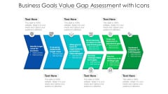 Business Goals Value Gap Assessment With Icons Ppt Pictures Structure PDF