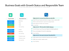 Business Goals With Growth Status And Responsible Team Ppt PowerPoint Presentation Pictures Themes PDF