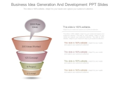 Business Idea Generation And Development Ppt Slides
