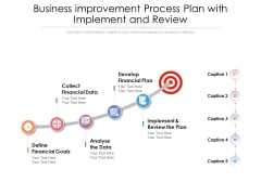 Business Improvement Process Plan With Implement And Review Ppt PowerPoint Presentation Infographics Ideas PDF