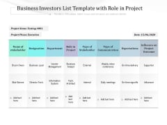 Business Investors List Template With Role In Project Ppt PowerPoint Presentation File Inspiration PDF