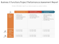 Business It Functions Project Performance Assessment Report Ppt PowerPoint Presentation Gallery Templates PDF