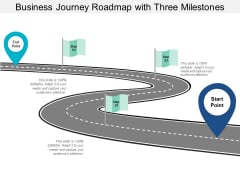 Business Journey Roadmap With Three Milestones Ppt Powerpoint Presentation Gallery Mockup