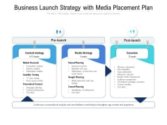 Business Launch Strategy With Media Placement Plan Ppt PowerPoint Presentation Gallery Vector PDF