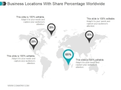 Business Locations With Share Percentage Worldwide Ppt PowerPoint Presentation Graphics