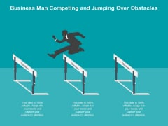Business Man Competing And Jumping Over Obstacles Ppt PowerPoint Presentation Show Layouts