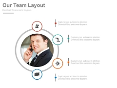 Business Man With Four Finance Icons Powerpoint Slides