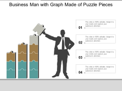 Business Man With Graph Made Of Puzzle Pieces Ppt PowerPoint Presentation Professional Clipart