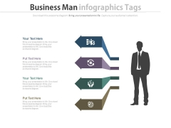 Business Man With Startup Process Tags Powerpoint Slides