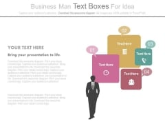 Business Man With Strategic Planning Icons Powerpoint Slides